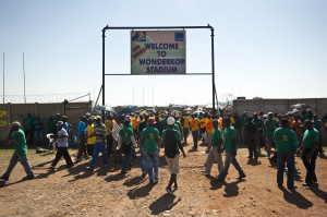 Miners pouring into Wonderkop Stadium for a Rally: By Delwyn Verasamy