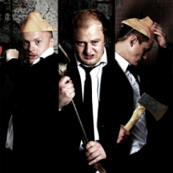 James Cairns, Rob van Vuuren and Albert Pretorius starring in The Three Little Pigs