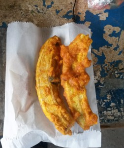 Fried green bananas from Bangladesh Market.